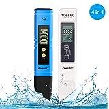 PH Messgerät TDS EC PH Temperatur 4 in 1 Set, Wasserqualität Tester mit Hoher Genauigkeit,...