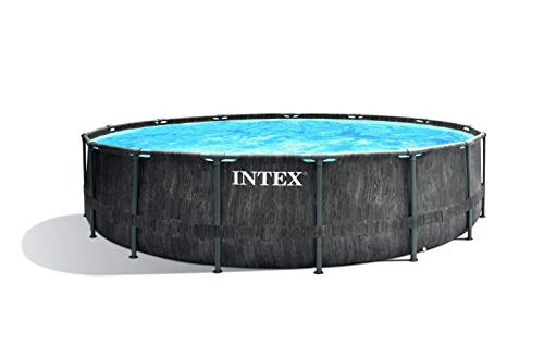 Intex Unisex– Erwachsene Premium Frame Pool Set Prism Greywood Ø 457 x 122 cm, Dunkelgraue...