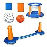 SFNTION Aufblasbarer Pool Float Set, schwimmendes Volleyballnetz mit aufblasbarem Basketballkorb und...