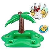 Sukang Aufblasbarer Getränkehalter aus Kokosnussbaum,Aufblasbar Getränkehalter Pool Zubehör Spaß...