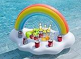 FUNOVA Aufblasbare Regenbogen Wolke Getränkehalter im coolen Rettungsring Schwimmende Getränke...