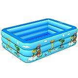 Aufblasbarer Familienpool, Schwimmbecken Rechteckig, Aufblasbarer Lounge-Pool Für Für Kinder Ab 3...