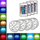 Danolt 4Pcs LED Unterwasser Licht mit Fernbedienung 3 x AAA-Batterien Farbwechsel Unterwasserlicht...