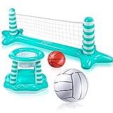 Joyjoz Aufblasbarer Volleyball Pool Basketball Aufblasbare Pool Spielzeug Floating Volleyball Netz...