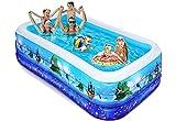 iBaseToy Aufblasbarer Pool für Kinder, 305x183x56CM aufblasbarer Blow Up Kiddie Pool für...