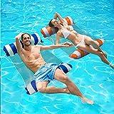 SenluKit 2er Aufblasbares Schwimmbett, Wasserhängematte 4-in-1 Loungesessel Pool Lounge...