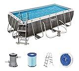 Bestway Power Steel 404x201x100 cm, Frame Pool rechteckig mit stabilem Stahlrahmen im Komplett-Set,...