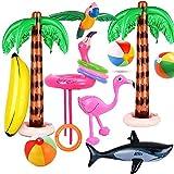 Evance 14 Stücke Aufblasbare Palmen Flamingo Spielzeug Aufblasbare Bananenstrandbälle Fliegen...