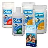 POOL Total Cristal Set Wasserpflege Chlor (5 TLG.)/ Chlor Set zur Wasserdesinfektion/Poolpflege...