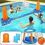 Jojoin Aufblasbares Volleyball-Set, 290 cm Aufblasbares Pool Schwimmset Inklusive Basketballkorb-Set...